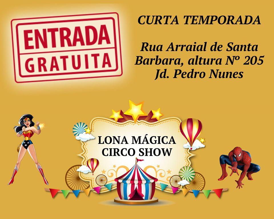 lona mágica circo show no vipzinho