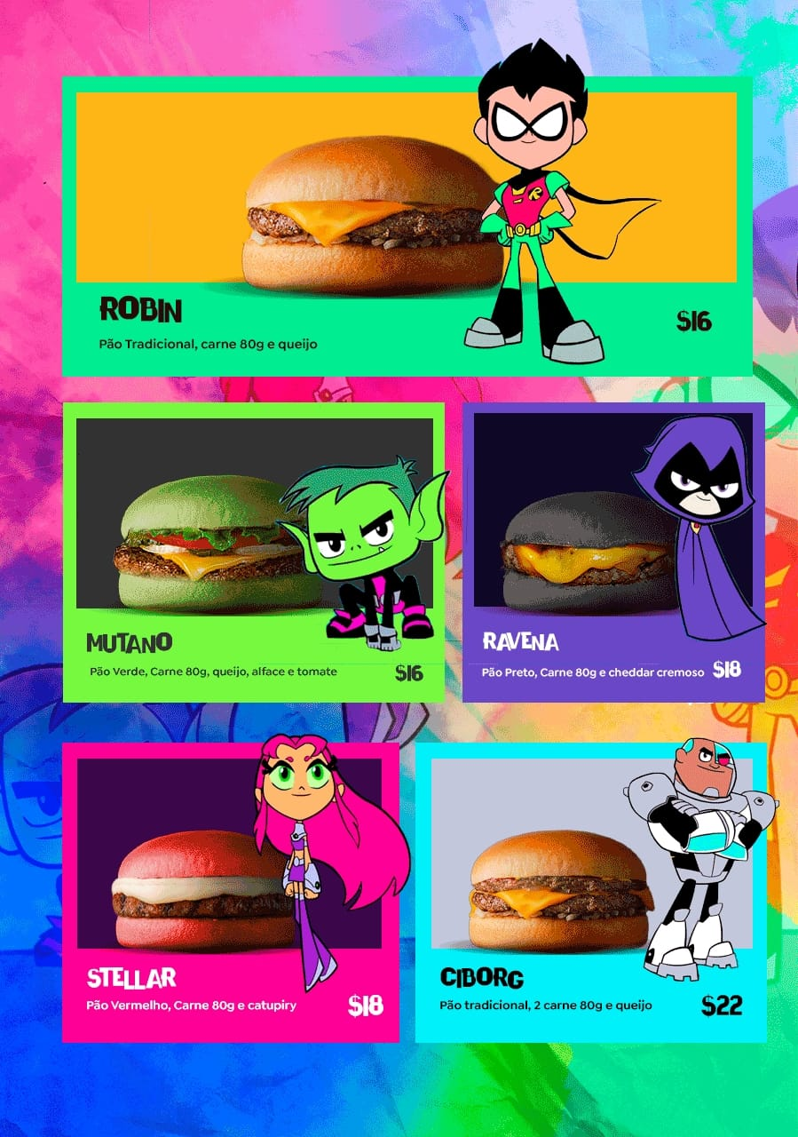 cardápio jovens titãs na comics burger
